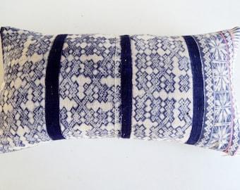 Gray and Navy Batik Pillow Cover - Nordic Snowflake Throw Pillow - Modern Farmhouse Decor
