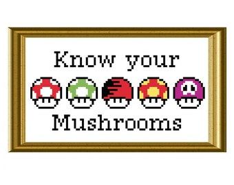 Mario Mushrooms Cross Stitch Pattern Funny Know Your Mushrooms Video Game Chart