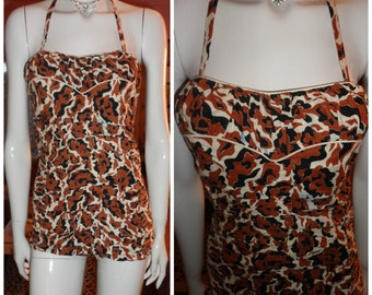 1950's LEOPARD Halter Swimsuit Ruched Smocked Back Shelf Bust Pin Up Pool Party XS VlV