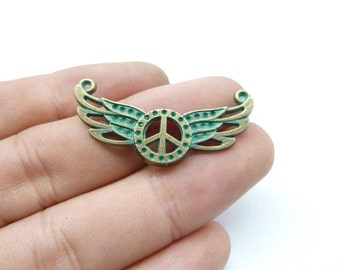 20pcs 17x37mm Peace Wing  Rustic Charms, Bronze with Green Patina Angel Wings Wing Connector Peace Rustic Patina Charms Pendant c8172