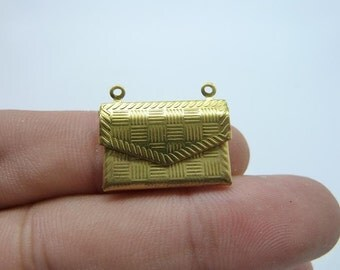 5PCS 17x21mm Openable Raw Brass Envelope Locket Wallet Charm Pendant Brass Connector Necklace Pendant(unplated )C8069