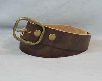 In-Stock 1.5 inch, Brown Casual Leather Belt, Factory Dyed