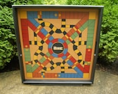 "Parcheesi Game Board with Tray Frame 25"" x 25"""