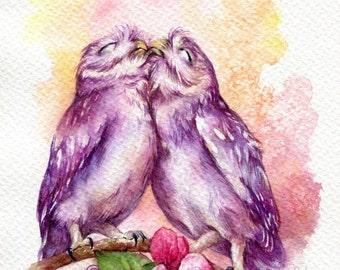 "PRINT – Kiss Kiss Watercolor painting 7.5 x 11"""