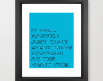 Graduation Gifts, Typography Art Print Inspirational Quote Be Patient