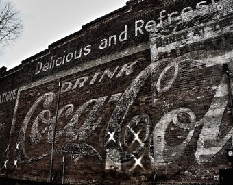 Urban Photography Old Coca Cola Print, Black and White Photo, Kitchen Wall Decor, Bar Wall Art