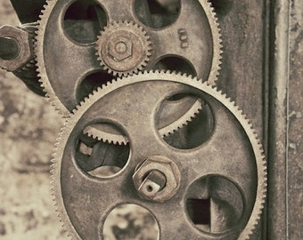 Antique Machinery Photograph, Milling Machine Photo, Industrial Gears Wall Print