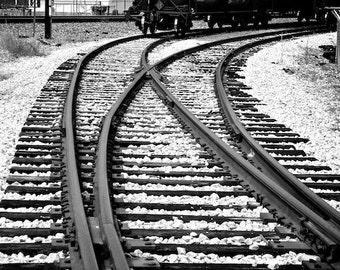 Railroad Track Photo, Old Train Photo, Black and White Photo, Vintage Decor, Industrial Wall Decor