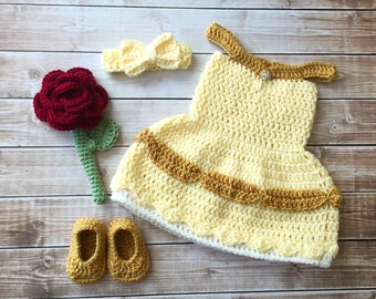 Princess Belle Beauty and the Beast Inspired Costume/Crochet Princess Belle Dress/Princess Photo Prop Newborn to 12 Months- MADE TO ORDER