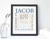 FRAMED BABY GIFT: Baby Boy Personalized Canvas Print Custom Made To Order