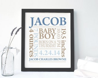 FRAMED BABY GIFT: Baby Boy Personalized Baby Birth Announcement Canvas Baby Shower Gift Mother's Day Gift