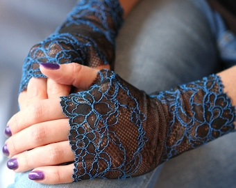 Lace Gloves in Black with Blue. Stretch lace, fingerless lace gloves.  Ready to ship. Free shipping!