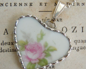 Fiona & The Fig Victorian-Pink Rose-Antique-French Limoges Broken China Soldered Necklace Pendant Charm-Jewelry