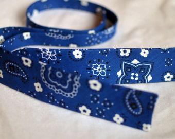 Blue Bandana Print Bow Tie