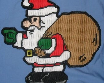 Pointing Santa Plastic Canvas Pattern