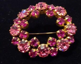 Vintage Rhinestone Circle Pin, Wreath Brooch, Aurora Borealis Rhinestone Pin.