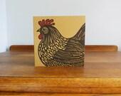 Cockerel, Original Hand Printed Card, Linocut Card, Blank Greeting Card, Brown Kraft Card, Free Postage in UK,