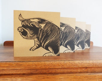 Linocut Cards Set of 4, Kune Kune Pig, Original Hand Printed Cards, Blank Greeting Cards, Brown Kraft Cards, Free Postage in UK,