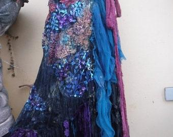 "20%OFF RESERVED wedding bohemian boho gypsy lagenlook OAK shabby mermaid wrap skirt...40"" across plus ties."