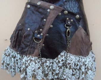 """20% OFF steampunk bohemian gypsy leather skirt belt with dog clip & with pocket ...36"""" to 44'' hips or waist..."""