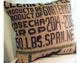 Burlap Coffee Pillow -Large