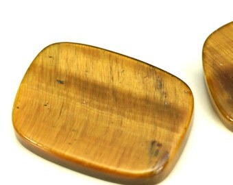 2 pcs 13x18 mm Tiger's Eye rectangle coin cabochon thickness 3 mm TV shape