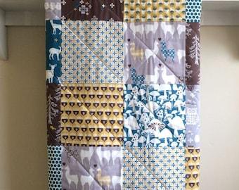 Boy Baby Quilt - Llama Love - Organic Cotton, Handmade Modern, Woodland, Deer, Rustic,Teal, Brown, Ivory, Mustard, Baby Bedding, Crib, Minky