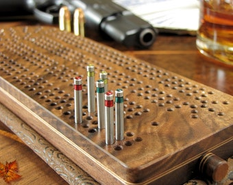 Cribbage Board Personalized-Exquisite Fancy Black Walnut with Stainless Steel Cribbage Pegs
