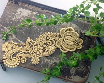 lace bracelet cuff -RACHAEL- soft saffron - soft mustard - lime green - turquoise
