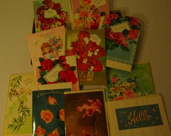 Set of 11 Parchment Charm Various Collection Unused Vintage 50's-70's Era Greeting Cards w/ Envelopes