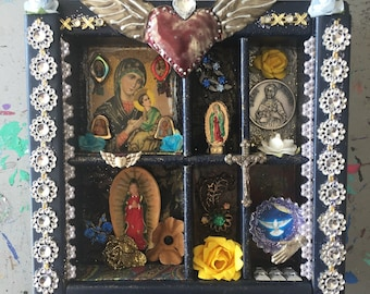 RESERVED for Judy Shadow Box frame Mexican style with virgin mary Guadalupe  beautiful shadow box // dark blue gold// Mexican folk art