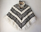 Knit Poncho, Black and White