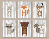 Woodland Nursery Wall Art - Forest Animals - Woodland Wall Art - Bunny Rabbit Deer Squirrel Raccoon Fox Decor Boy Bedroom Prints Set of 6