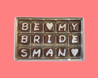 Ask Bridesman Gift Will You Be My Bridesman Proposal Invitations Gift Cubic Chocolate Letters  Funny Creative Unusual Way Cute Fun Idea