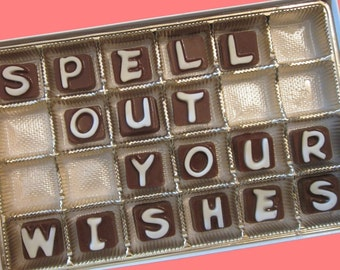 Personalized Dad Gift Chocolate Message Candy Letters Box Mens Womens Gift for Him Her Custom Present 24 pc Cubic by What Candy Says LLC