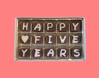 5th Wedding Anniversary Gift Boyfriend Girlfriend Husband Gift Fifth Anniversary Happy 5 Years 5th Five Cubic Chocolate Letters Romantic