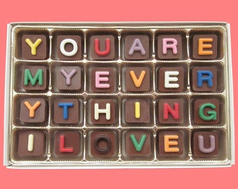 Anniversary Gift Girlfriend Gift for Her Cute Boyfriend Gift for Him Romantic Unique Idea You Are My Everything I Love You Chocolate Message