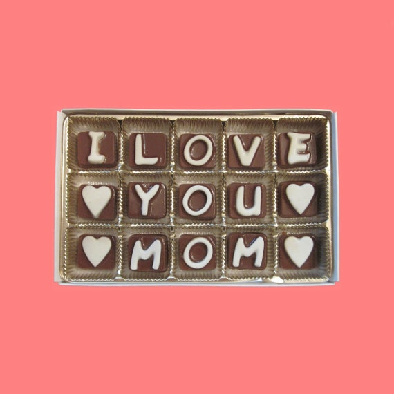 Mothers Gift Mom Mommy Mother in Law Unique Sweet Gourmet Fun I Love You Mom Cubic Chocolate Letters Unique Cute by What Candy Says LLC