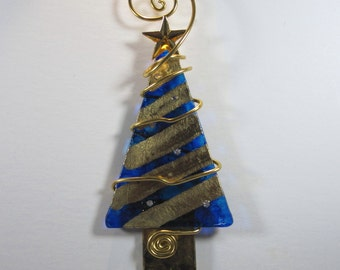 Gold foil and Cobalt Blue Christmas Tree Ornament