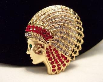 Native American Indian Head Brooch Headdress Figural Glass Rhinestone Gold Plate Vintage Pin