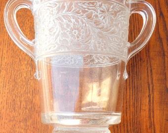 EAPG Antique Celery Vase, Amethyst Glass, Floral Acorn Motif, Great Shape!