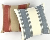 Ralph Lauren Stripes to Plaid Reversible Pillow Cover 18x18 Square, Chambray Gingham Print, Relaxed Linen, French Bistro Blue or Red