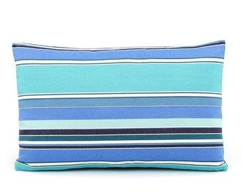 "Sunbrella Dolce Oasis Outdoor Pillow Cover 12x20"", Blue Lumbar Pillow, Turquoise Pillow, Stripe Outdoor Pillow, Cushion, Malibu Cove"