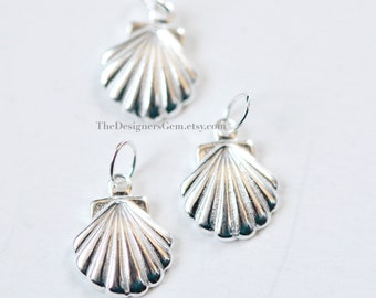 One Sterling Silver Seashell Charm with a Closed Jump Ring 15 x 10mm