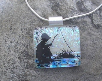 Gone Fishing Necklace Dichroic Fused Glass Fishing Boy Pendant