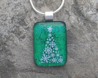 Christmas Tree Necklace Fused Dichroic Glass Christmas Pendant