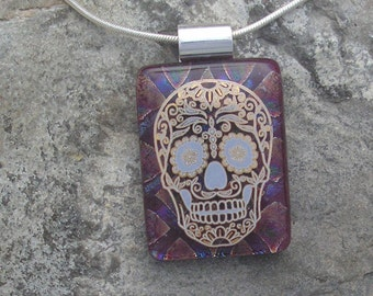 Sugar Skull Pendant Fused Glass Skull Necklace Day of the Dead Jewelry