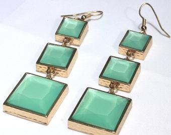 Retro Dangle Earrings in Mint Green, Modernist Shoulder Duster Earrings