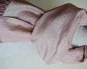 Linen Luxurious Scarf --Light brown with shine effect -Natural-Pure Linen-Summer
