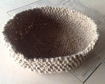 "Large dog basket (11"" oval) knitted in wool (for big knitted dogs)"